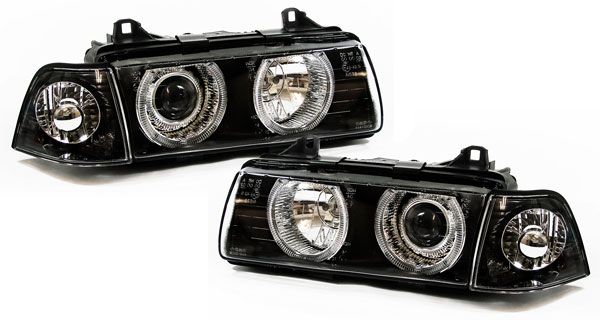 bmw e36 compact klarglas angel eyes scheinwerfer schwarz. Black Bedroom Furniture Sets. Home Design Ideas