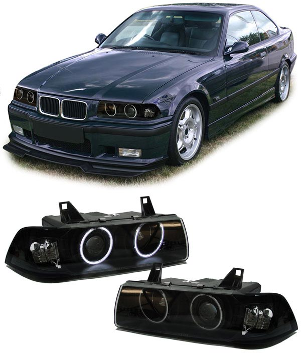 bmw e36 coupe cabrio ccfl angel eyes scheinwerfer schwarz. Black Bedroom Furniture Sets. Home Design Ideas