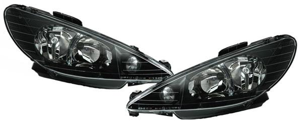 peugeot 206 ab 98 klarglas scheinwerfer h7 h7 schwarz. Black Bedroom Furniture Sets. Home Design Ideas