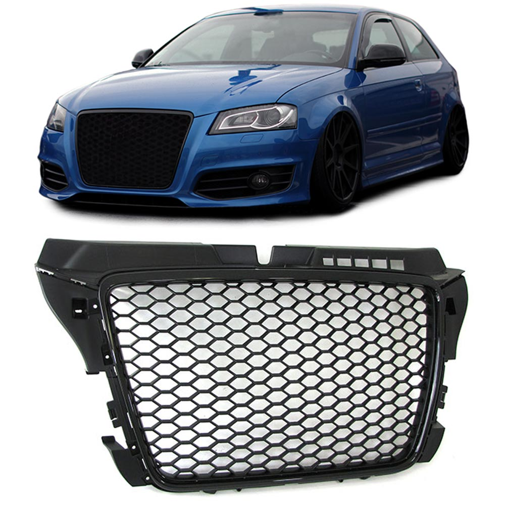 audi a3 8p 2008 2012 restyling front grill all black look. Black Bedroom Furniture Sets. Home Design Ideas