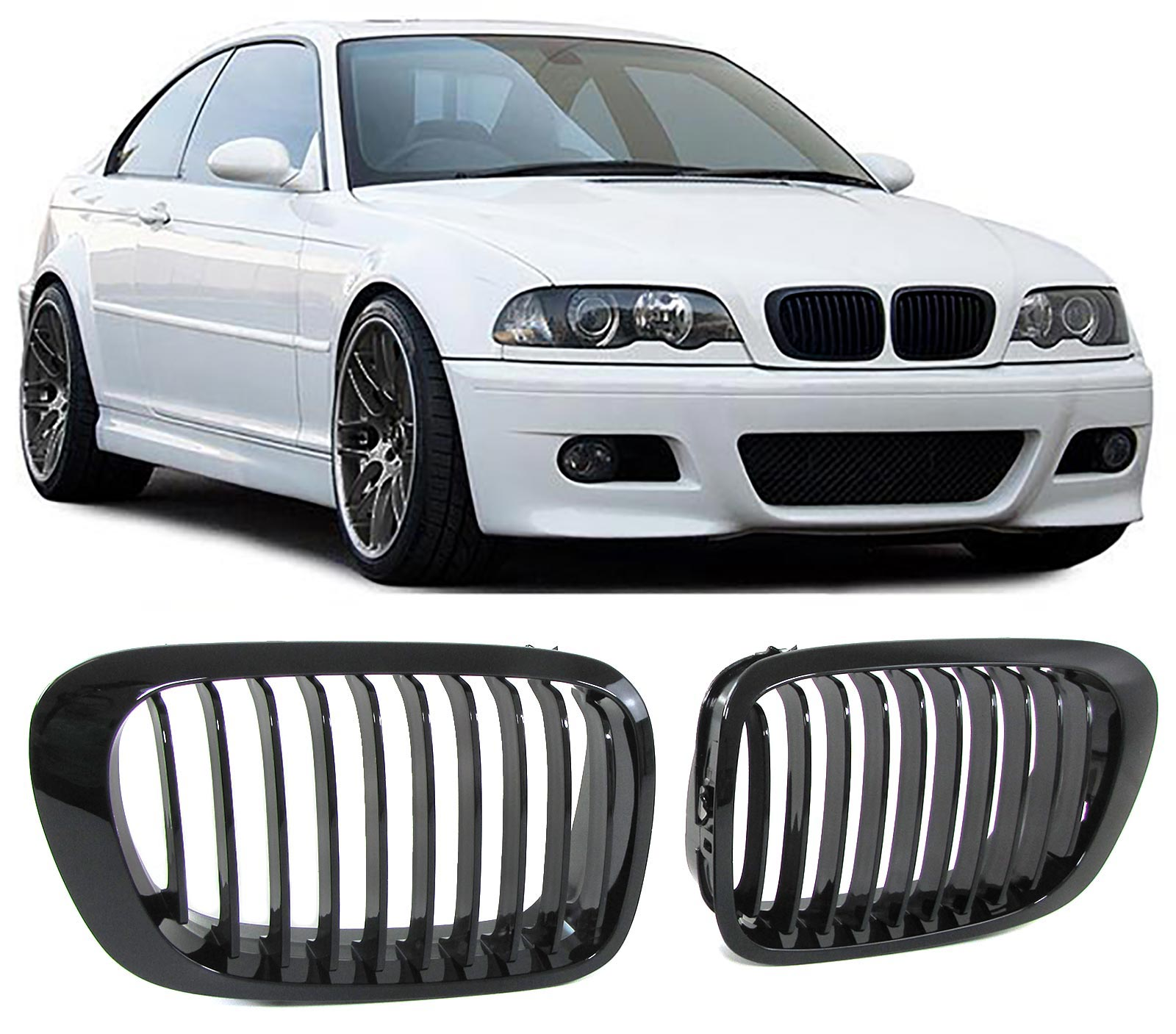 sport k hler grill nieren schwarz gl nzend f r bmw 3er e46. Black Bedroom Furniture Sets. Home Design Ideas