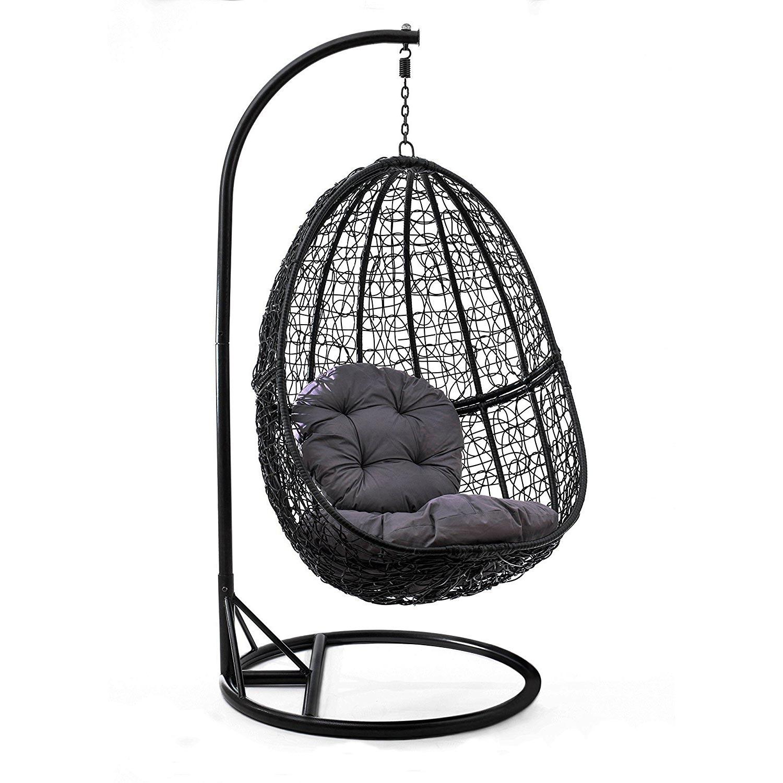 h ngesessel schaukel korb polyrattan mit gestell und sitzkissen bis 160 kg 4050756439216 ebay. Black Bedroom Furniture Sets. Home Design Ideas