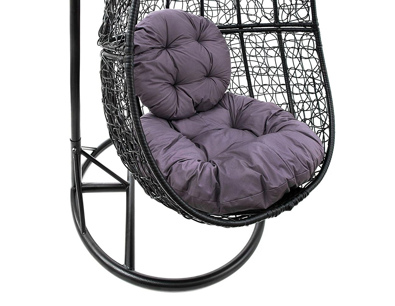 h ngesessel schaukel korb polyrattan mit gestell und sitzkissen bis 160 kg ebay. Black Bedroom Furniture Sets. Home Design Ideas