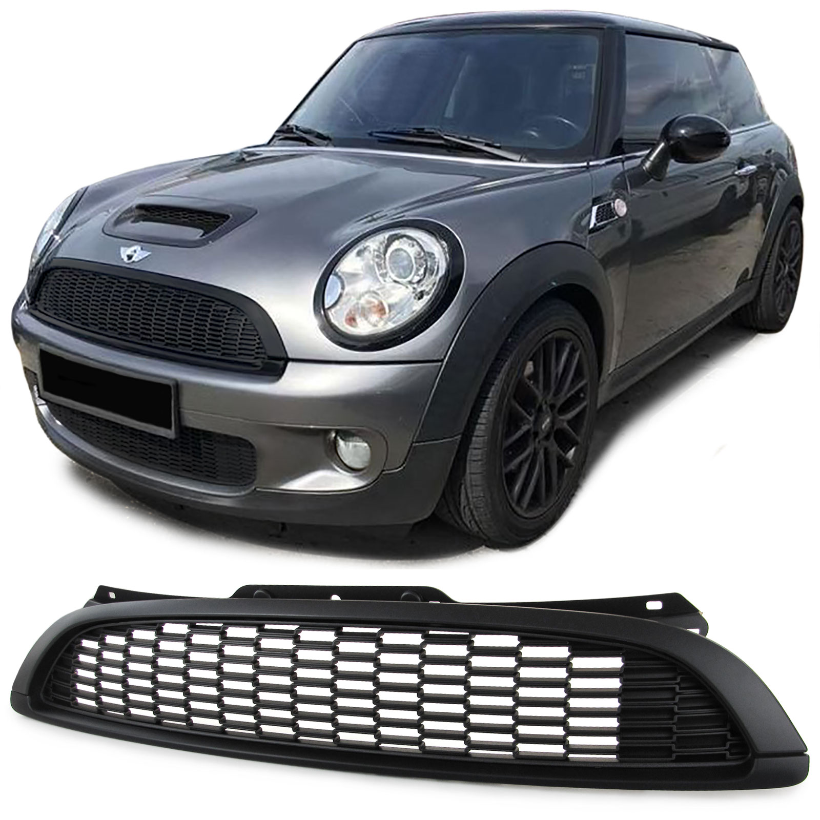 sport k hlergrill s optik schwarz matt f r mini cooper r55 r56 r57 r58 06 13 ebay. Black Bedroom Furniture Sets. Home Design Ideas
