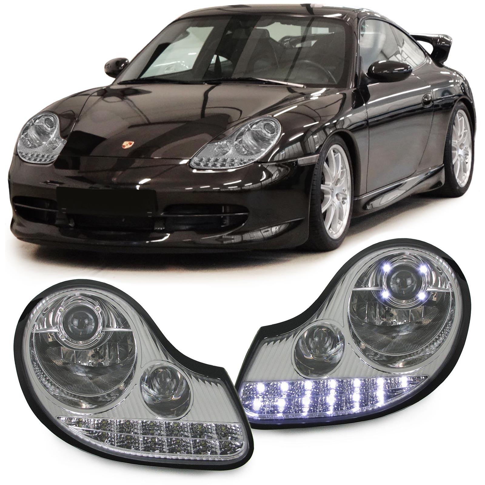 klarglas scheinwerfer chrom mit led blinker f r porsche 911 996 boxster 986 ebay. Black Bedroom Furniture Sets. Home Design Ideas