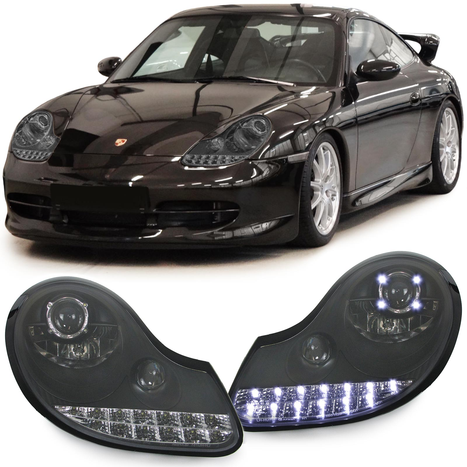 Porsche Boxster 986 Black: Clear GLASS BLACK HEADLIGHTS WITH LED INDICATORS FOR