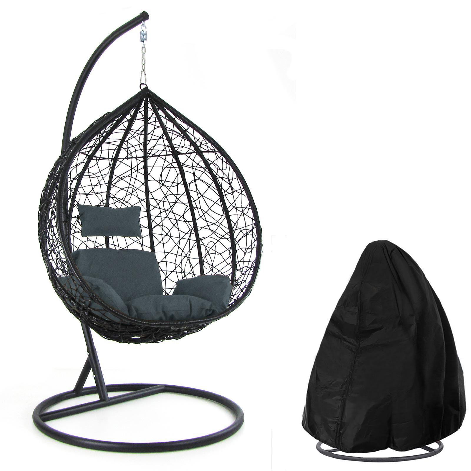 luxus hängesessel schaukel korb mit gestell schwarz