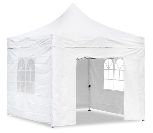Premium Garten Falt Pavillion Party Zelt mit 4 Seitenwänden 2 Fenster 3x3m weiss