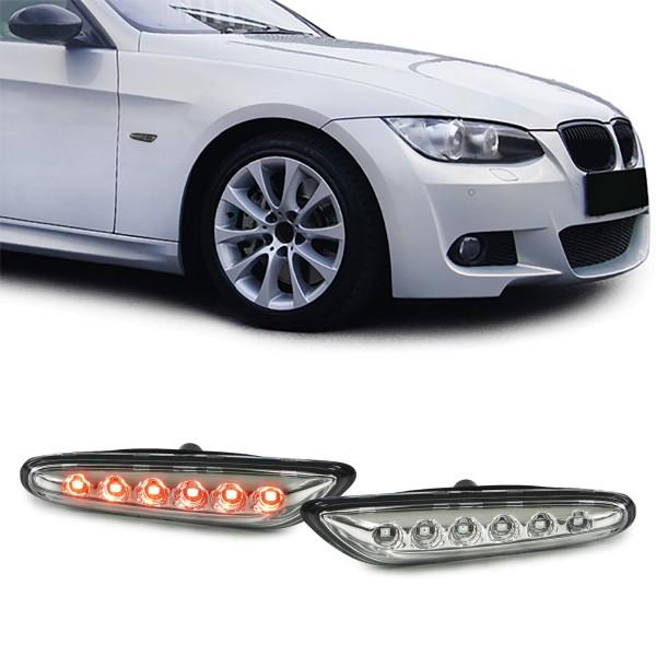 LED Seitenblinker chrom Paar für BMW 1er E81 E82 E87 3er E90 E91 E92 E93 X1 E84