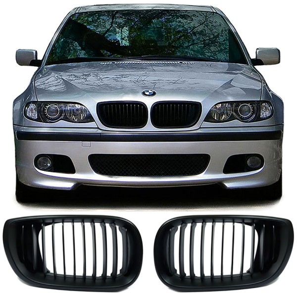 Sport Nieren Kühlergrill schwarz matt für BMW 3er E46 Limousine Touring 01-05