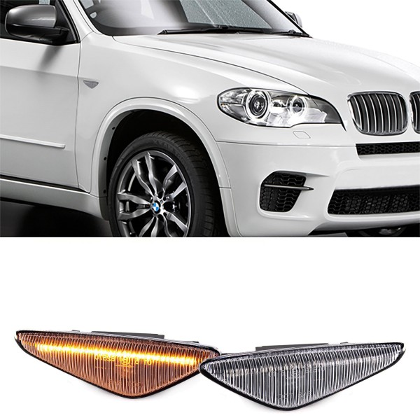 Dynamische LED Seitenblinker Weiss Klar für BMW X5 E70 X6 E71 E72 X3 F25