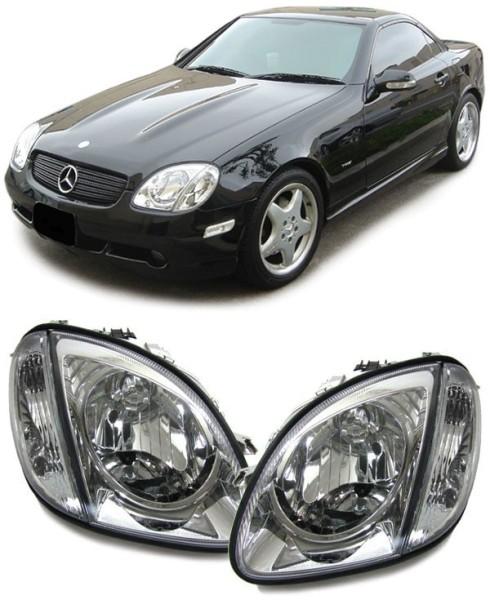 Klarglas H4 Scheinwerfer mit Blinker chrom für Mercedes SLK R170 96-04