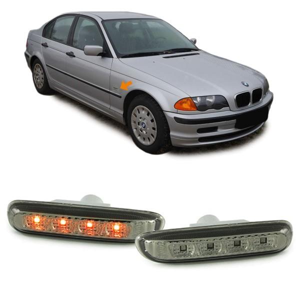 Klarglas Seitenblinker schwarz smoke für BMW 3er E36 bis 96 5er E34 7er E32