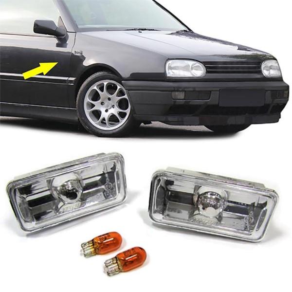 Klarglas Seitenblinker chrom für VW Golf 3 + Vento bis 95