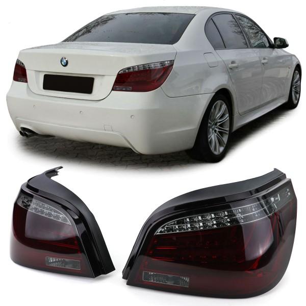 LED Lightbar Rückleuchten mit LED Blinker Rot Schwarz für BMW 5er E60 07-10
