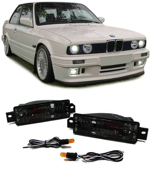 klarglas blinker mit standlicht schwarz f r bmw 3er e30 87. Black Bedroom Furniture Sets. Home Design Ideas