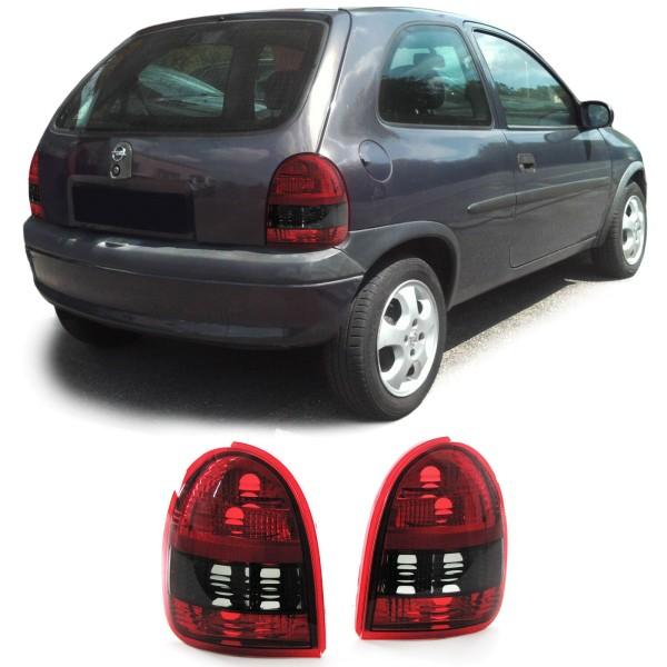 Klarglas Rückleuchten Rot Schwarz Smoke für Opel Corsa B 3-Türer 93-00