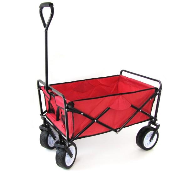 Faltwagen Handwagen Bollerwagen Offroad mit Extra breiten Rädern bis 80kg rot