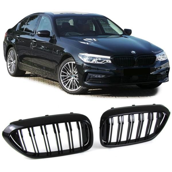 Sport Kühlergrill Nieren Doppelsteg schwarz glänzend für BMW 5er G30 G38 ab 16