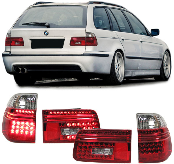 led r ckleuchten klarglas bmw 5er e39 rot weiss neu ebay. Black Bedroom Furniture Sets. Home Design Ideas