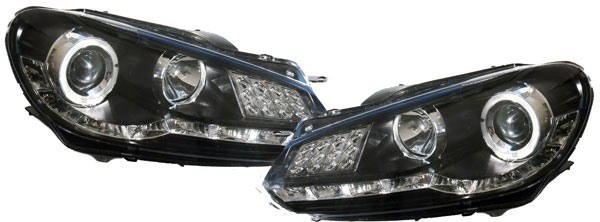 vw golf 6 tagfahrlicht scheinwerfer led blinker black ebay. Black Bedroom Furniture Sets. Home Design Ideas