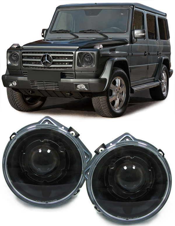 mercedes g modell w463 klarglas projektor scheinwerfer facelift schwarz ebay. Black Bedroom Furniture Sets. Home Design Ideas