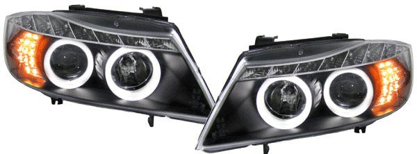 bmw e90 e91 angel eyes ccfl scheinwerfer schwarz led. Black Bedroom Furniture Sets. Home Design Ideas
