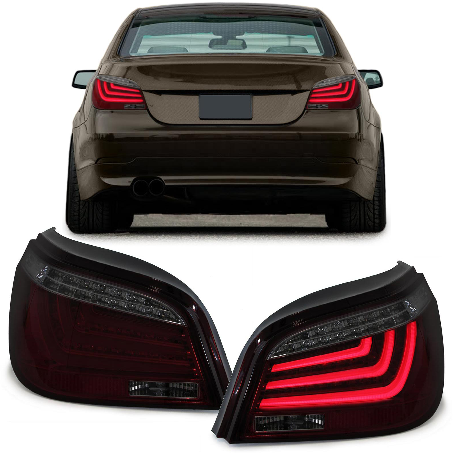 led lightbar klarglas r ckleuchten mit led blinker rot schwarz f r bmw 5er e60. Black Bedroom Furniture Sets. Home Design Ideas