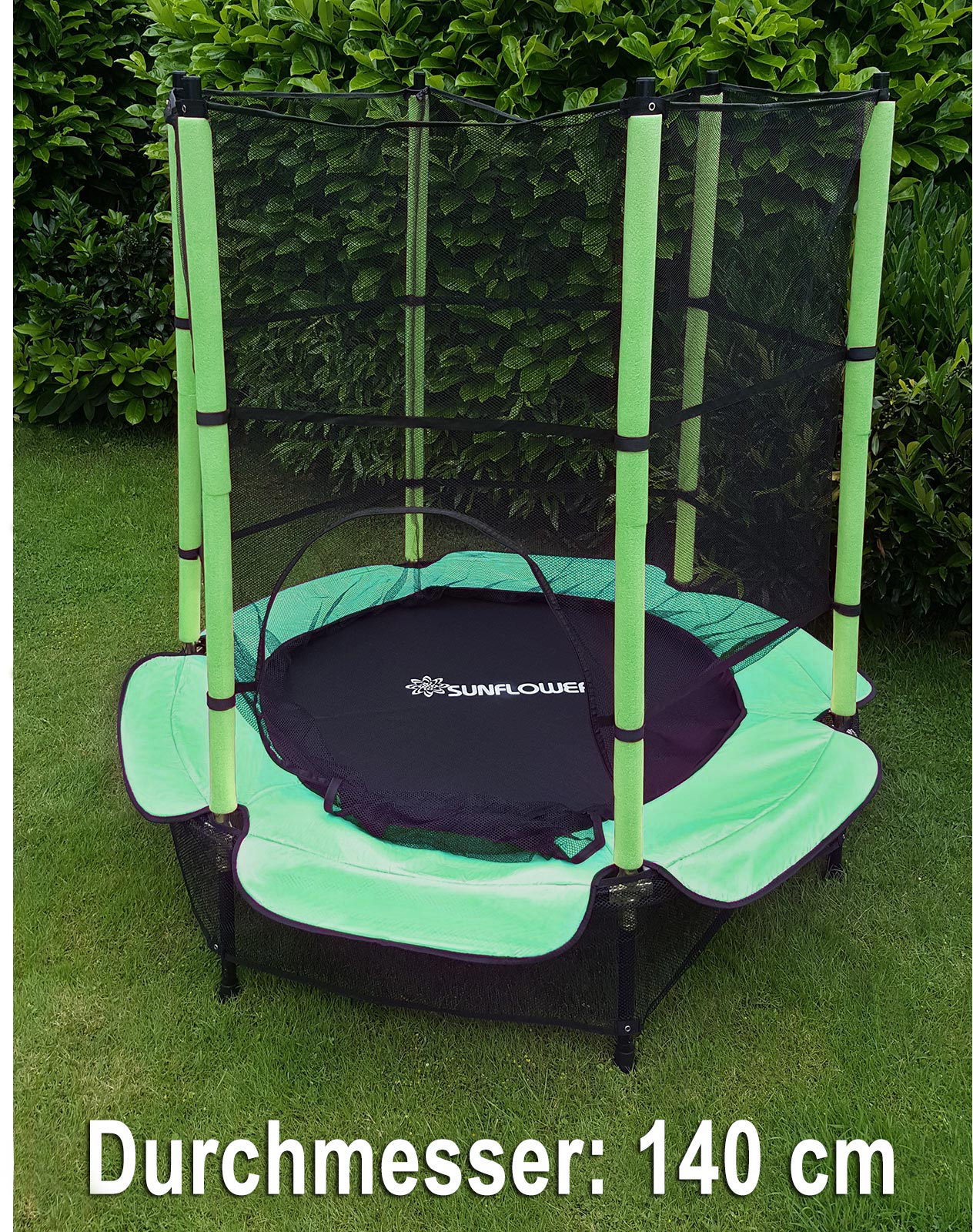 trampolin 140 cm komplett mit sicherheitsnetz gr n ebay. Black Bedroom Furniture Sets. Home Design Ideas